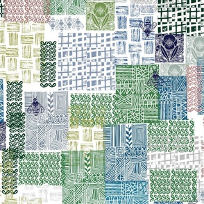 Bohemian Patchwork cheater quilt // block printed