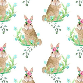 Bohemian bunny flower garden // watercolor rabbits //  woodland bunnies