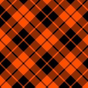 deep orange and black diagonal tartan