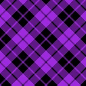 purple and black diagonal tartan