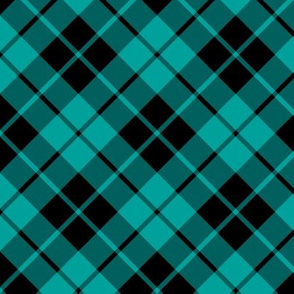 teal and black diagonal tartan