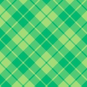 green and lime diagonal tartan