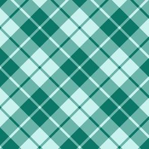 spruce green and pale aqua diagonal tartan