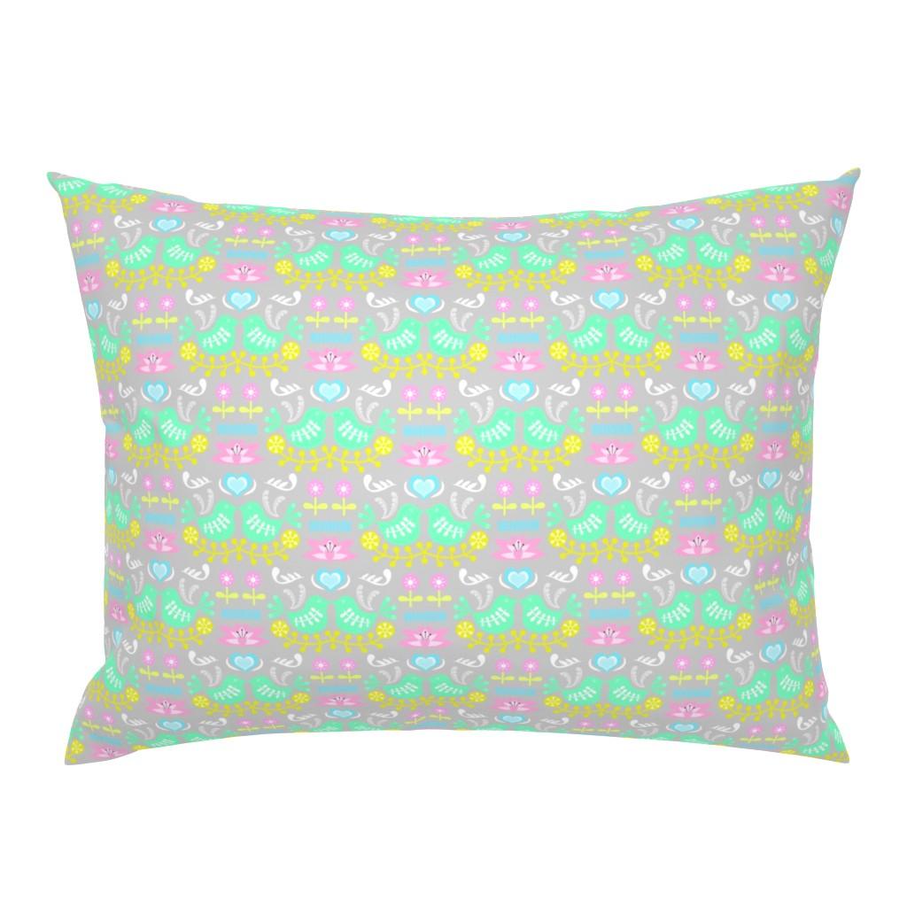 Campine Pillow Sham featuring Green Bird Folk Art by thewellingtonboot