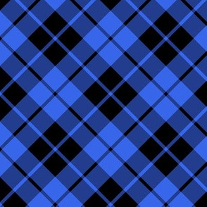 cobalt blue and black diagonal tartan