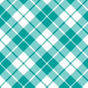 teal and white diagonal tartan