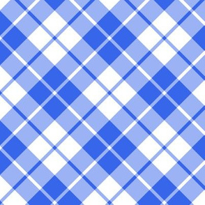 cobalt blue and white diagonal tartan