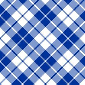 Imperial blue and white diagonal tartan