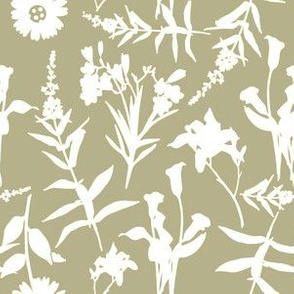 White Botanical Outline on Taupe Background