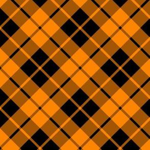 black and bright orange diagonal tartan