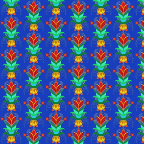 swedish flower with polka dots in royal blue red and gold