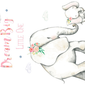 """42""""x36"""" Dream Big Little One / Pink Floral Elephant"""
