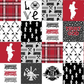 Firefighter Faux Quilt (Horizontal)