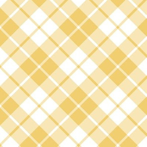 Imperial gold and white diagonal tartan