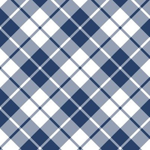 navy and white diagonal tartan