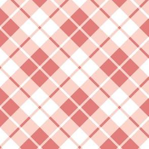 coral and white diagonal tartan