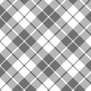 grey and white diagonal tartan