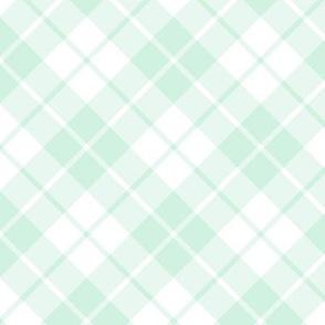 mint and white diagonal tartan