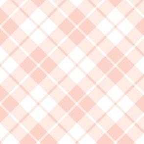 blush pink and white diagonal tartan