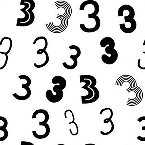 3 - simple minimal black and white number fabric