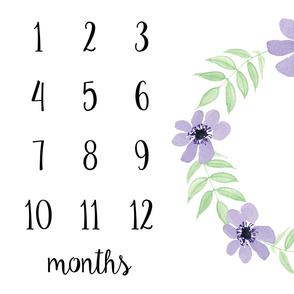 Milestone Blanket Purple Flowers