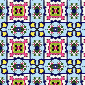 Small Tile-skyblue-blue-pink
