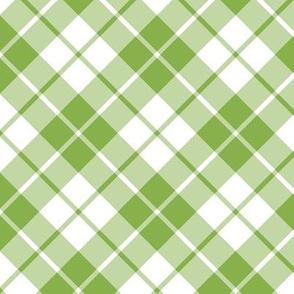 fresh green and white diagonal tartan