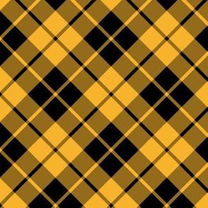 circus yellow and black diagonal tartan