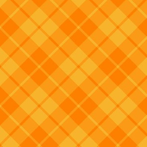 circus yellow and orange diagonal tartan