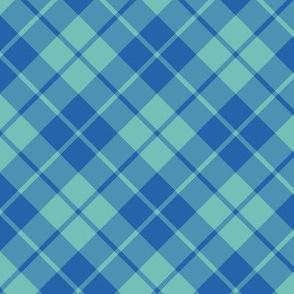 circus blue and aqua diagonal tartan
