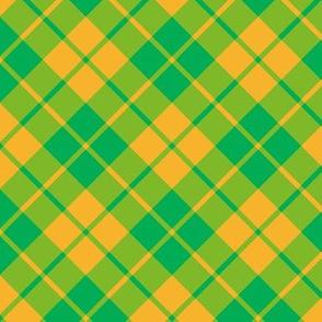 circus green and yellow diagonal tartan