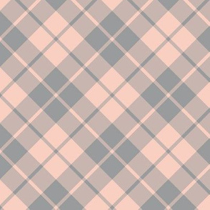 grey and peach diagonal tartan