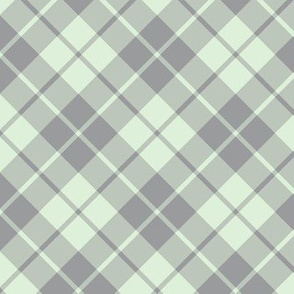 grey and pale green diagonal tartan
