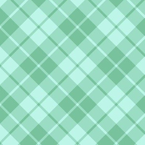 sea green and aqua diagonal tartan