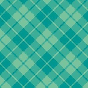 teal and surf green diagonal tartan