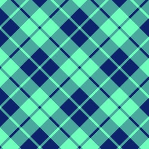 Navy blue and aqua diagonal tartan