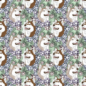 Floral Siberian Husky portraits