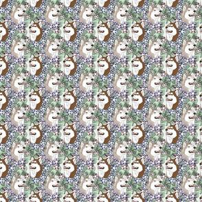 Floral Siberian Husky portraits - small