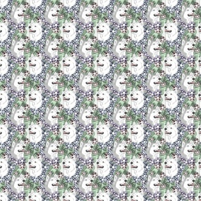 Floral Siberian Husky portraits C - small