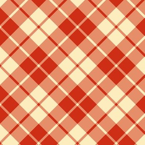 red and cream diagonal tartan