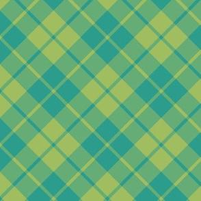 teal and green tea diagonal tartan