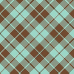 brown and aqua diagonal tartan