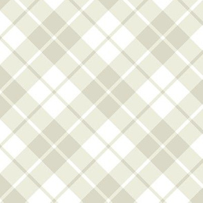 bisque and white diagonal tartan