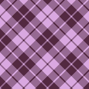 mauve and pink diagonal tartan
