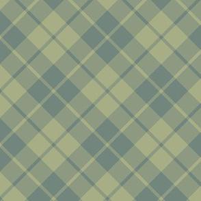 sage and slate diagonal tartan