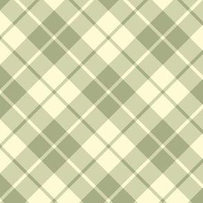 sage and cream diagonal tartan