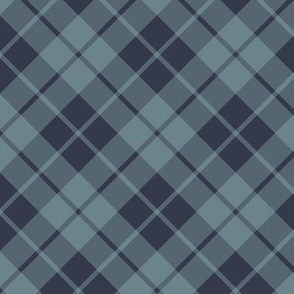 navy and slate diagonal tartan
