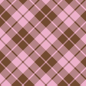 neapolitan brown and pink diagonal tartan