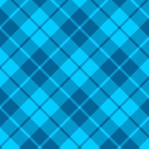 teal and turquoise diagonal tartan