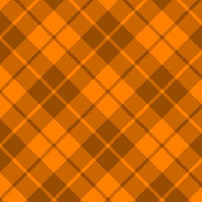 squash orange and nutmeg brown diagonal tartan